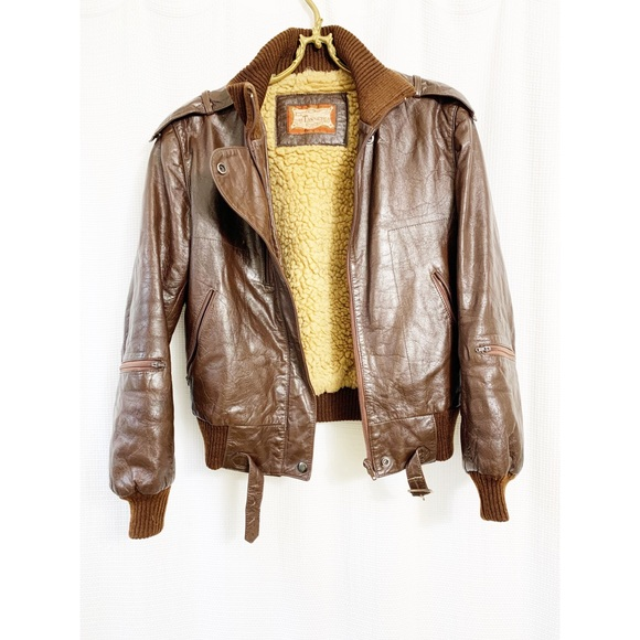 Vintage brown leather moto jacket
